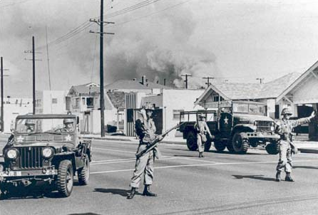 Soldiers on guard duty during the Watts Uprising in 1965. Photo courtesy of the National Guard Education Foundation.